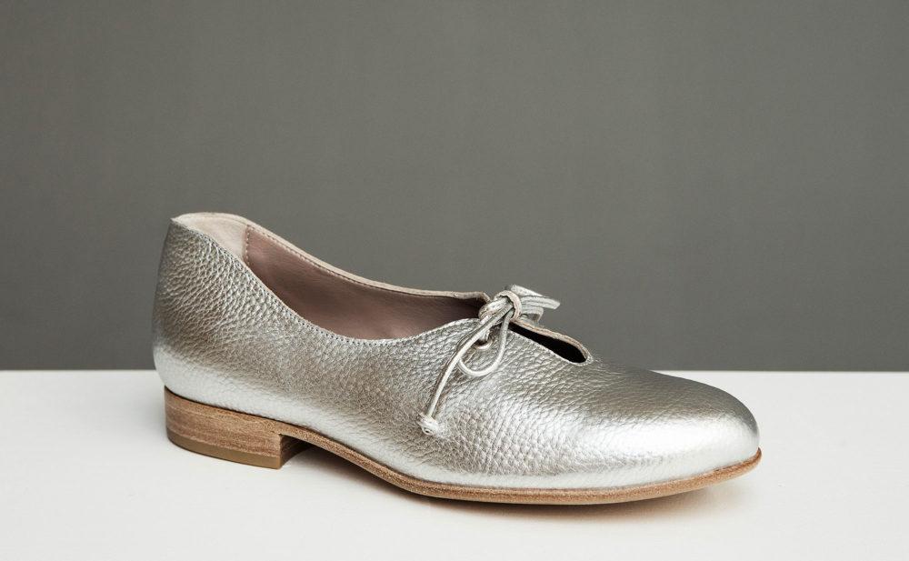 Dorotea zapato de cordones Carrie plateado ss17