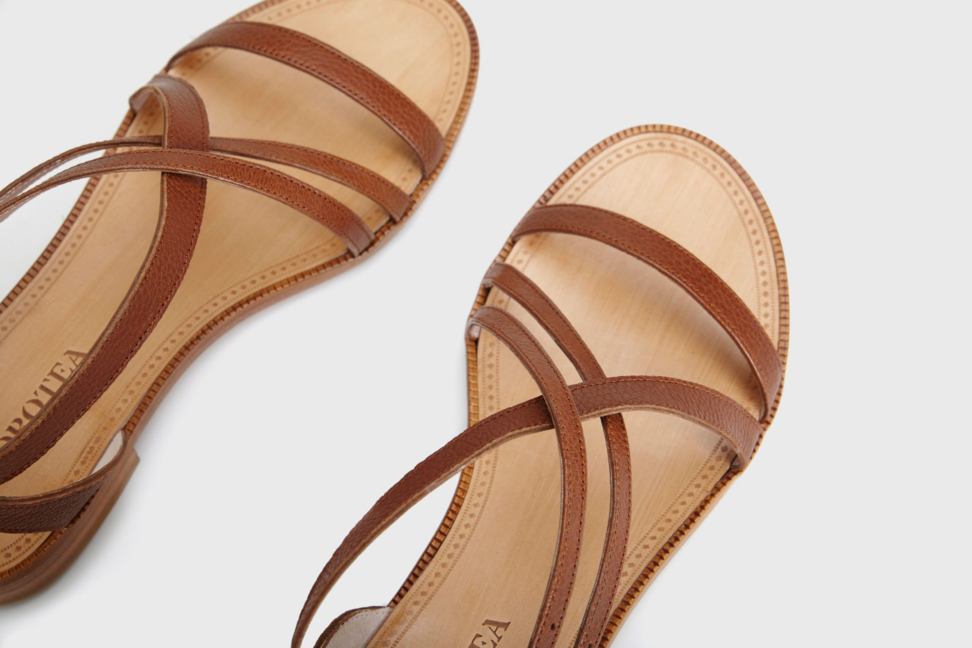 Dorotea sandalia plana Charlotte marrón ss17 detalle