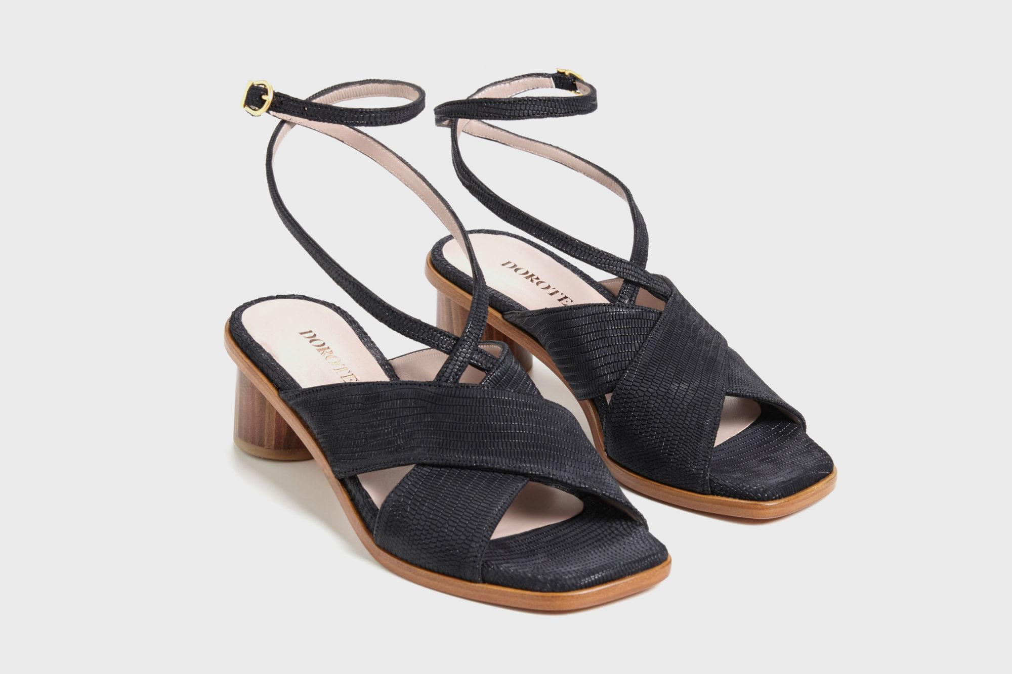 Dorotea sandalia de tacón medio Daphne negra ss17 par
