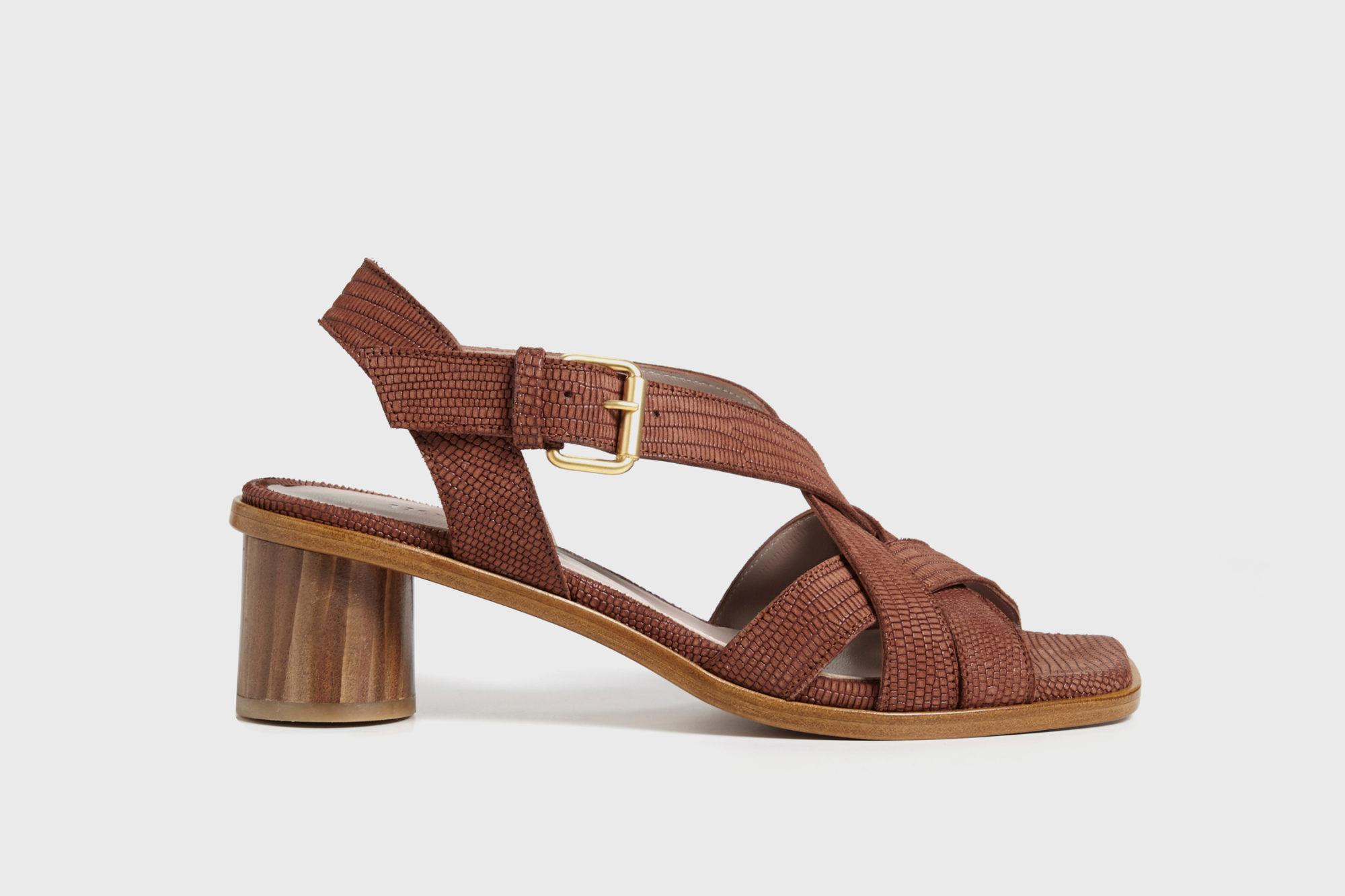 Dorotea sandalia de tacón medio Jeanne marrón ss17 perfil