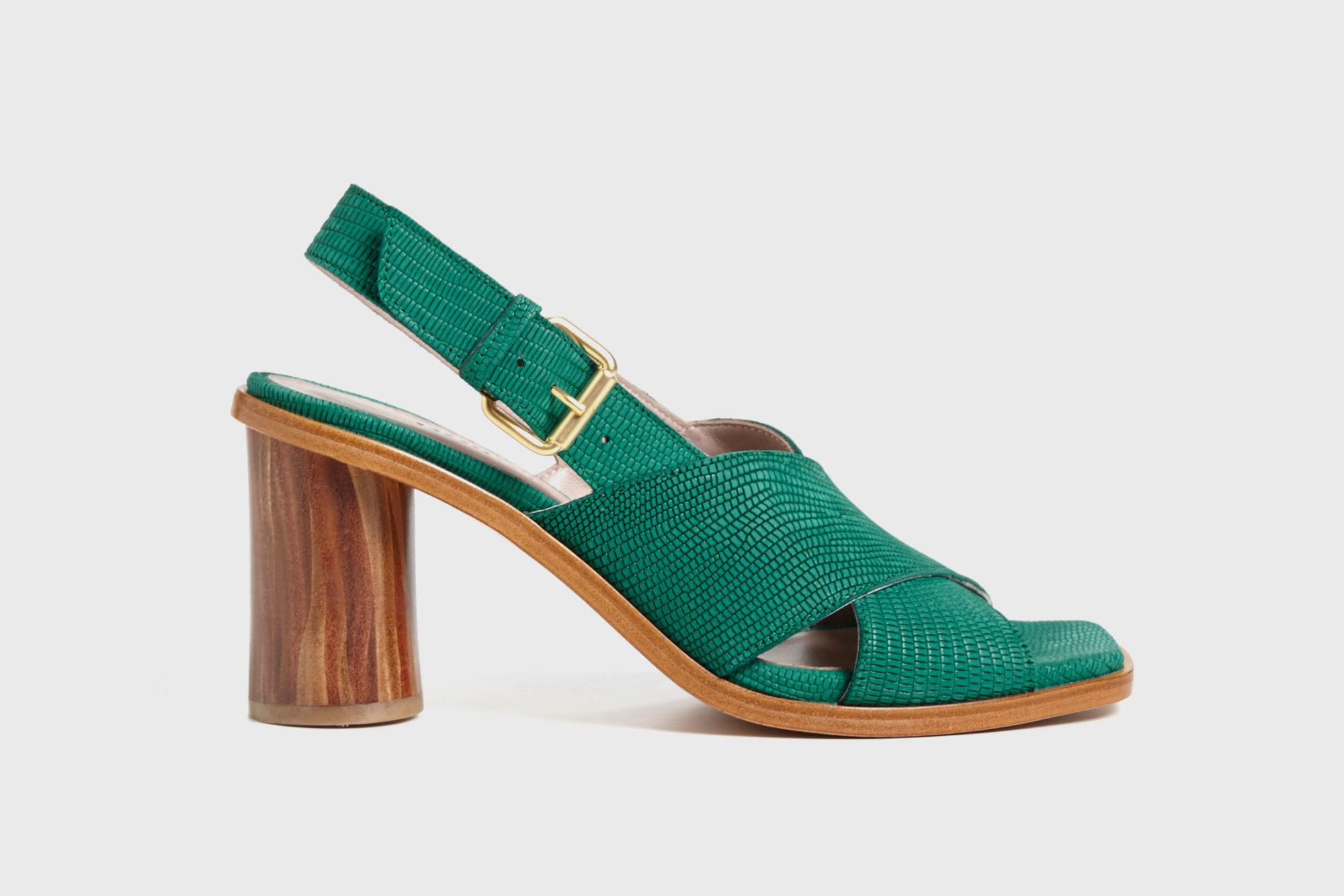 Dorotea sandalia de tacón alto Jazz verde ss17 perfil
