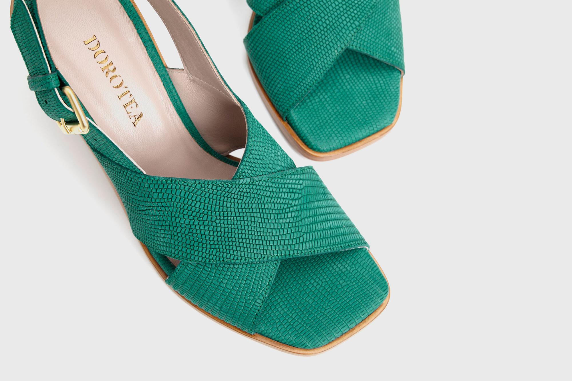 Dorotea sandalia de tacón alto Jazz verde ss17 detalle