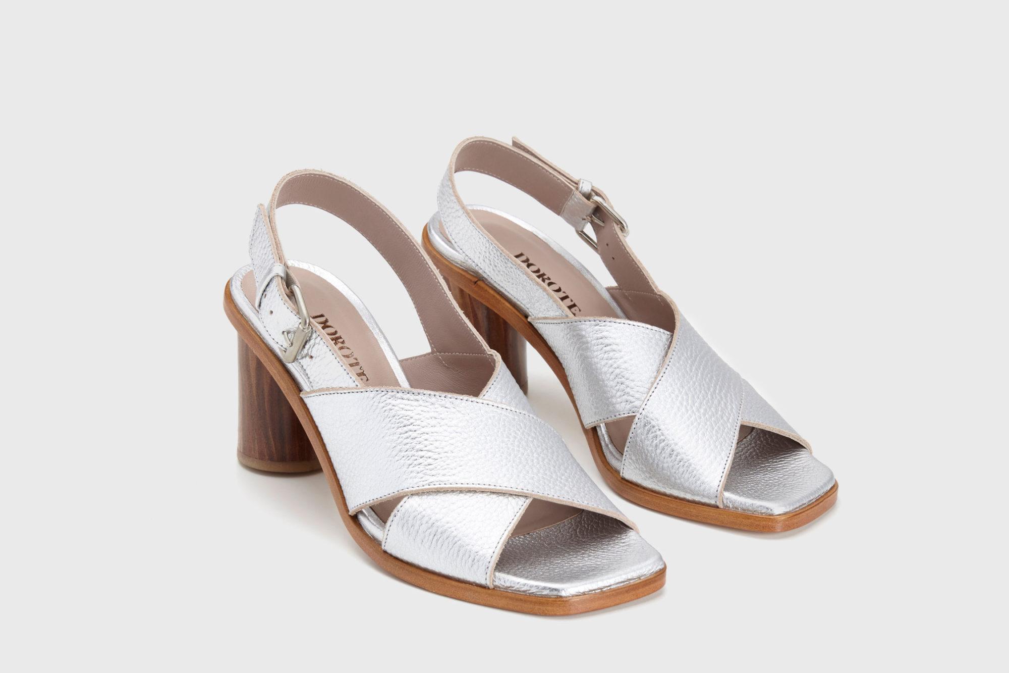 Dorotea sandalia de tacón alto Jazz plateado ss17 par