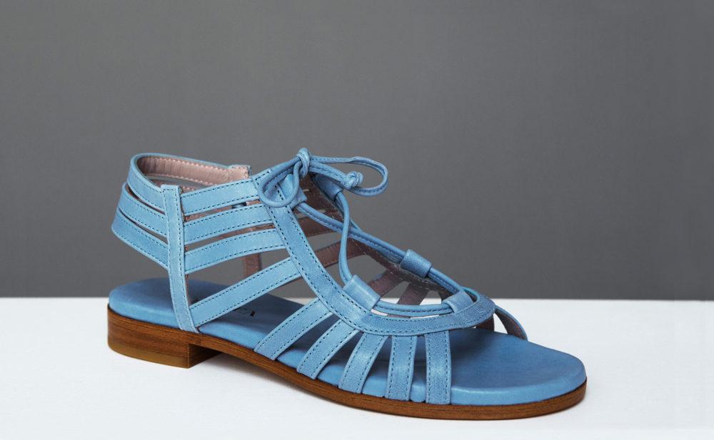 Dorotea sandalia plana Margot azul ss17 tres cuartos