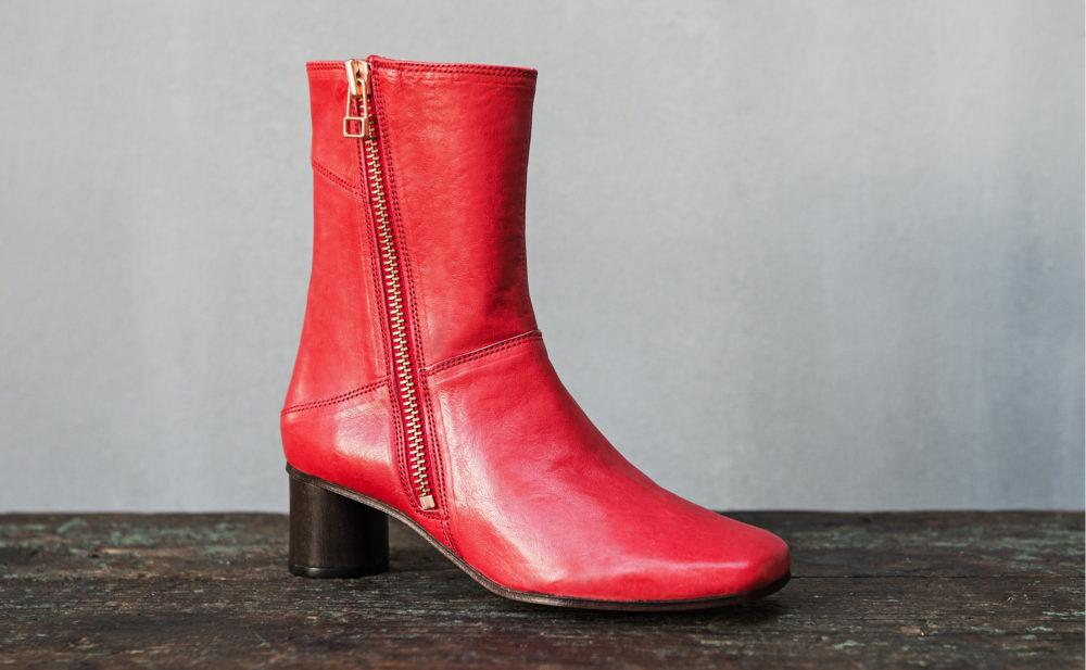 Dorotea bota de tacón medio Erin rojo ss17