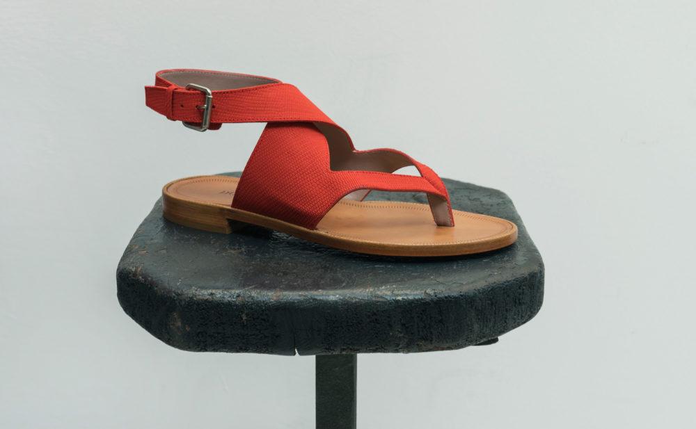 Dorotea sandalia plana Martina rojo carmín ss18