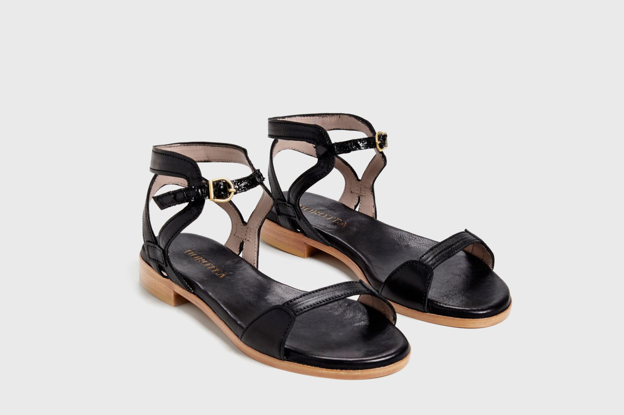 Dorotea sandalia plana Maya negra ss17 par