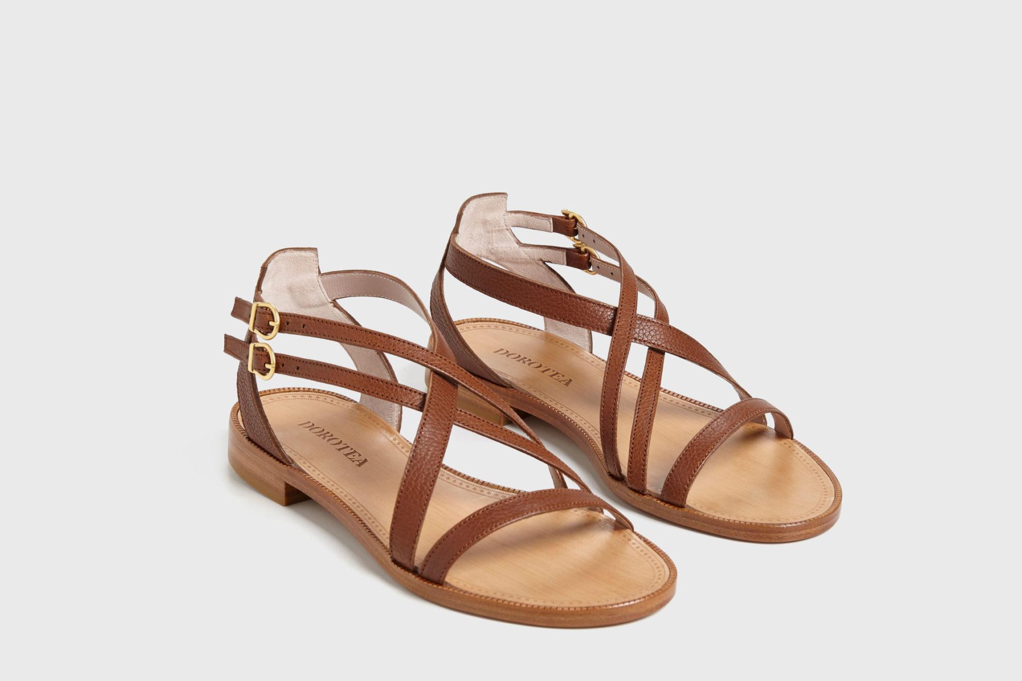 Dorotea sandalia plana Charlotte marrón ss17 par