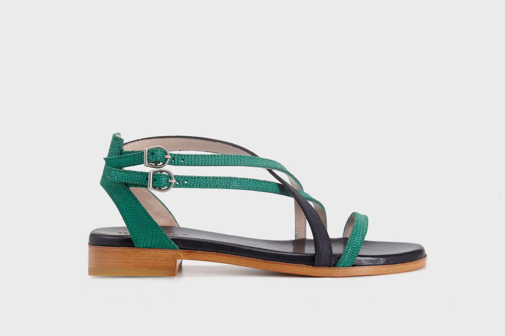 Dorotea sandalia plana Charlotte verde esmeralda ss17 perfil