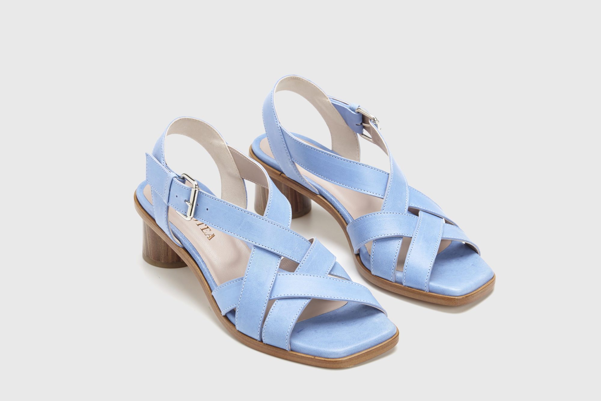 Sandalia de tacón medio Jeanne azul ss17 par