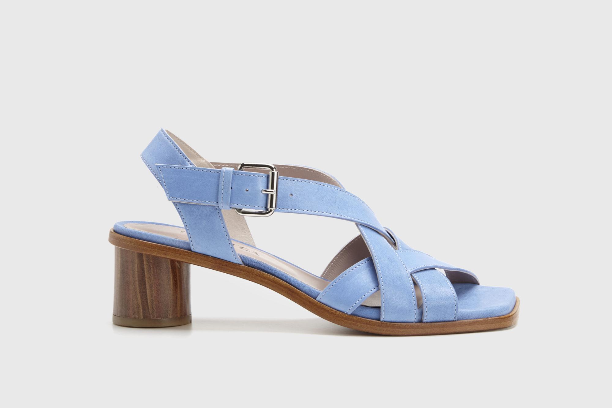 Sandalia de tacón medio Jeanne azul ss17 perfil