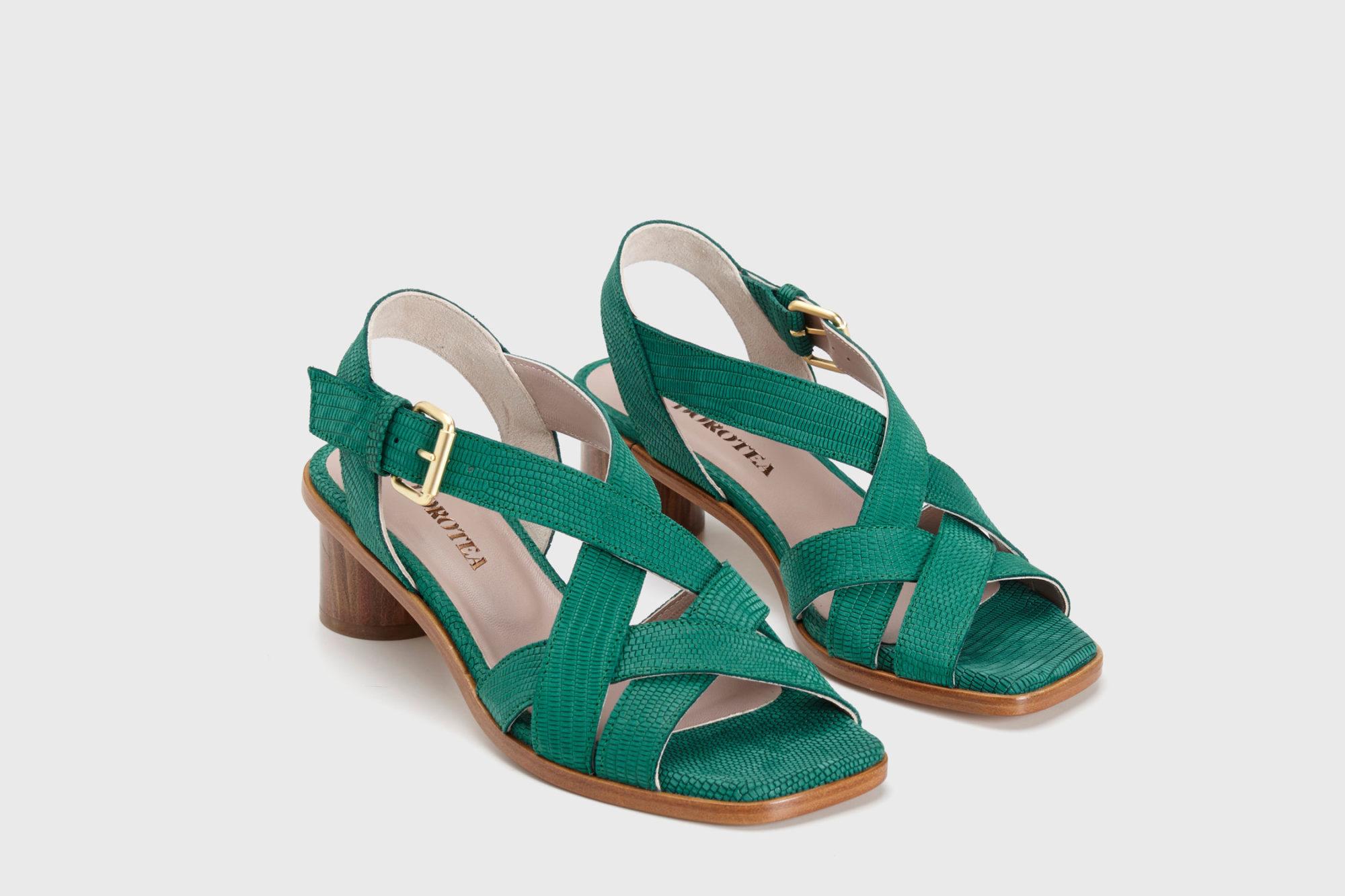 Dorotea sandalia de tacón medio Jeanne verde ss17 par