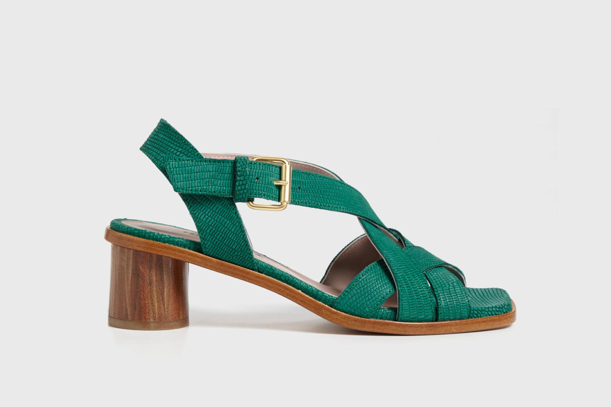Dorotea sandalia de tacón medio Jeanne verde ss17 perfil