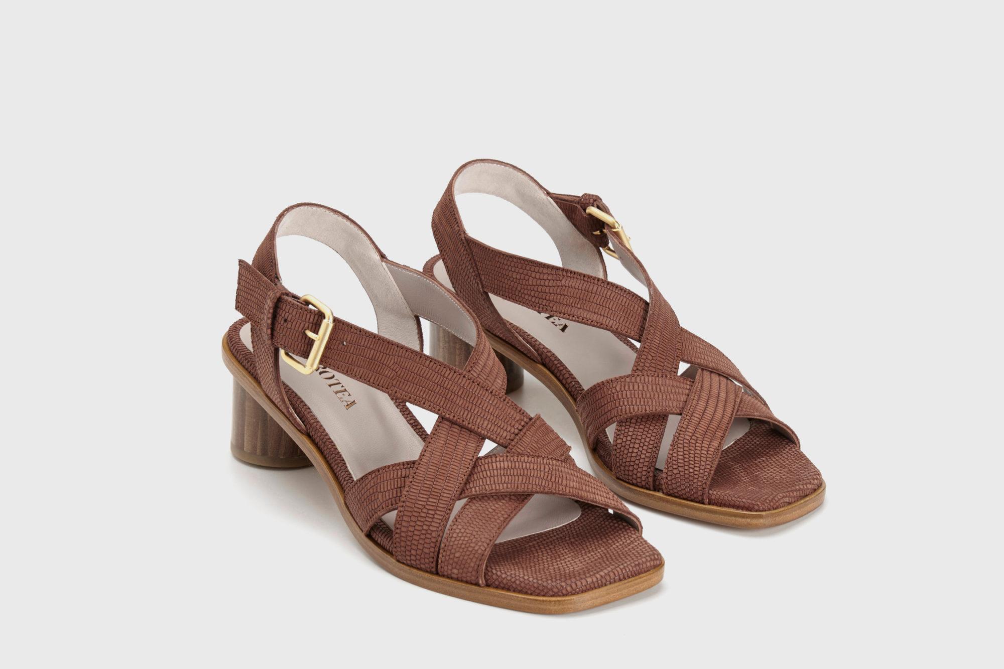 Dorotea sandalia de tacón medio Jeanne marrón ss17 par