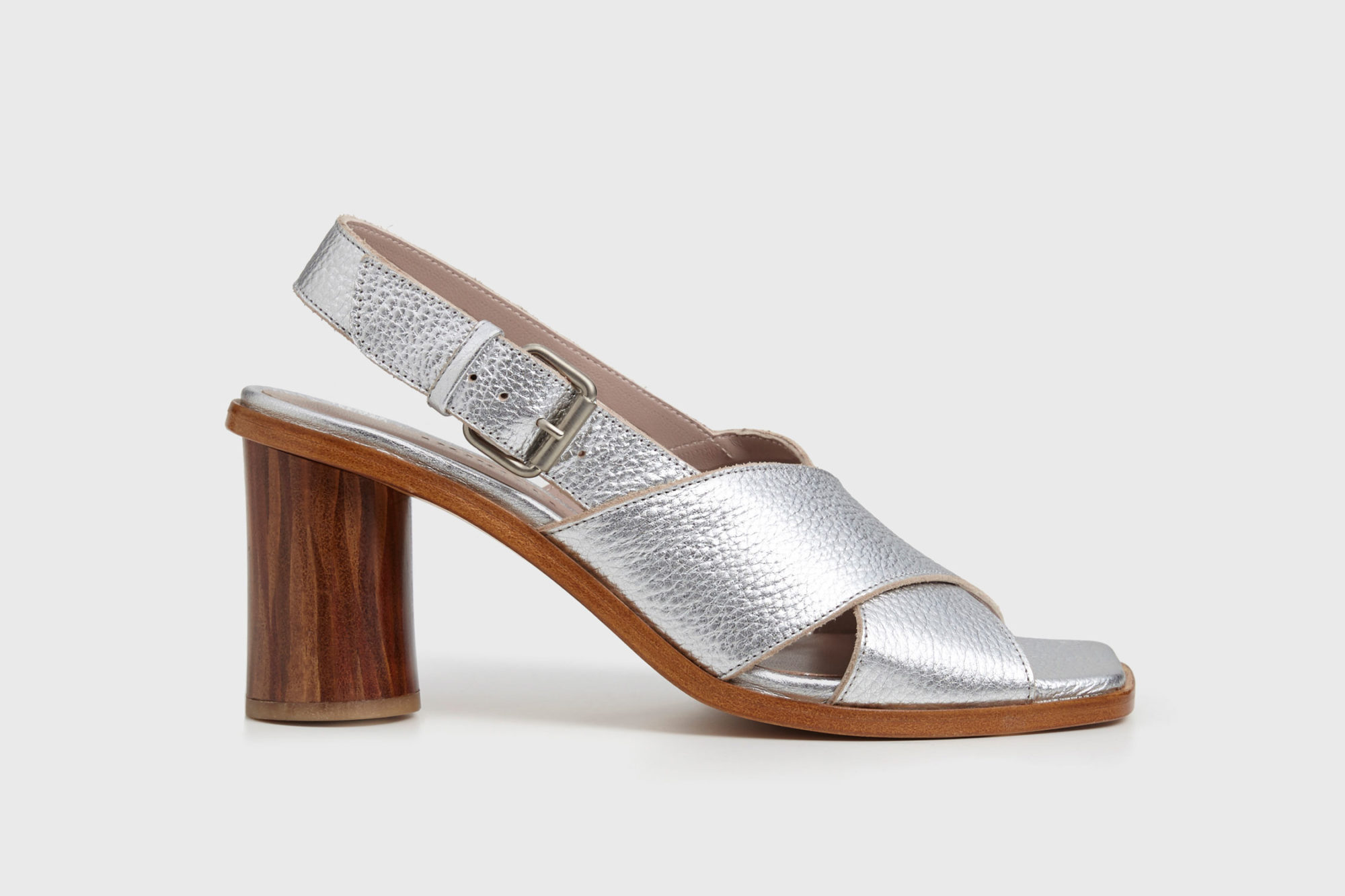 Dorotea sandalia de tacón alto Jazz plateado ss17 perfil