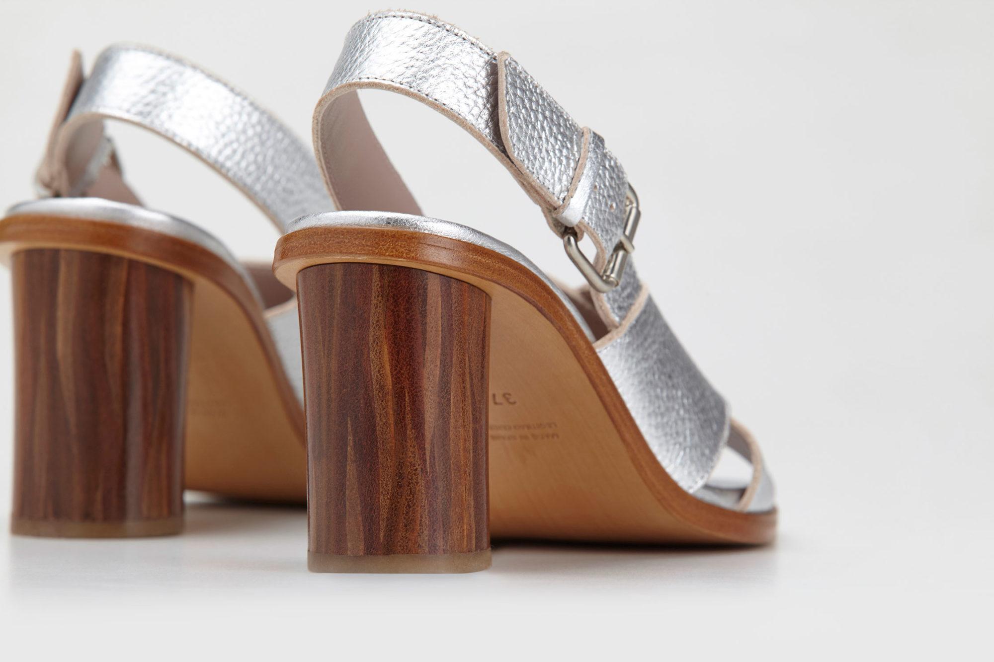 Dorotea sandalia de tacón alto Jazz plateado ss17 detalle