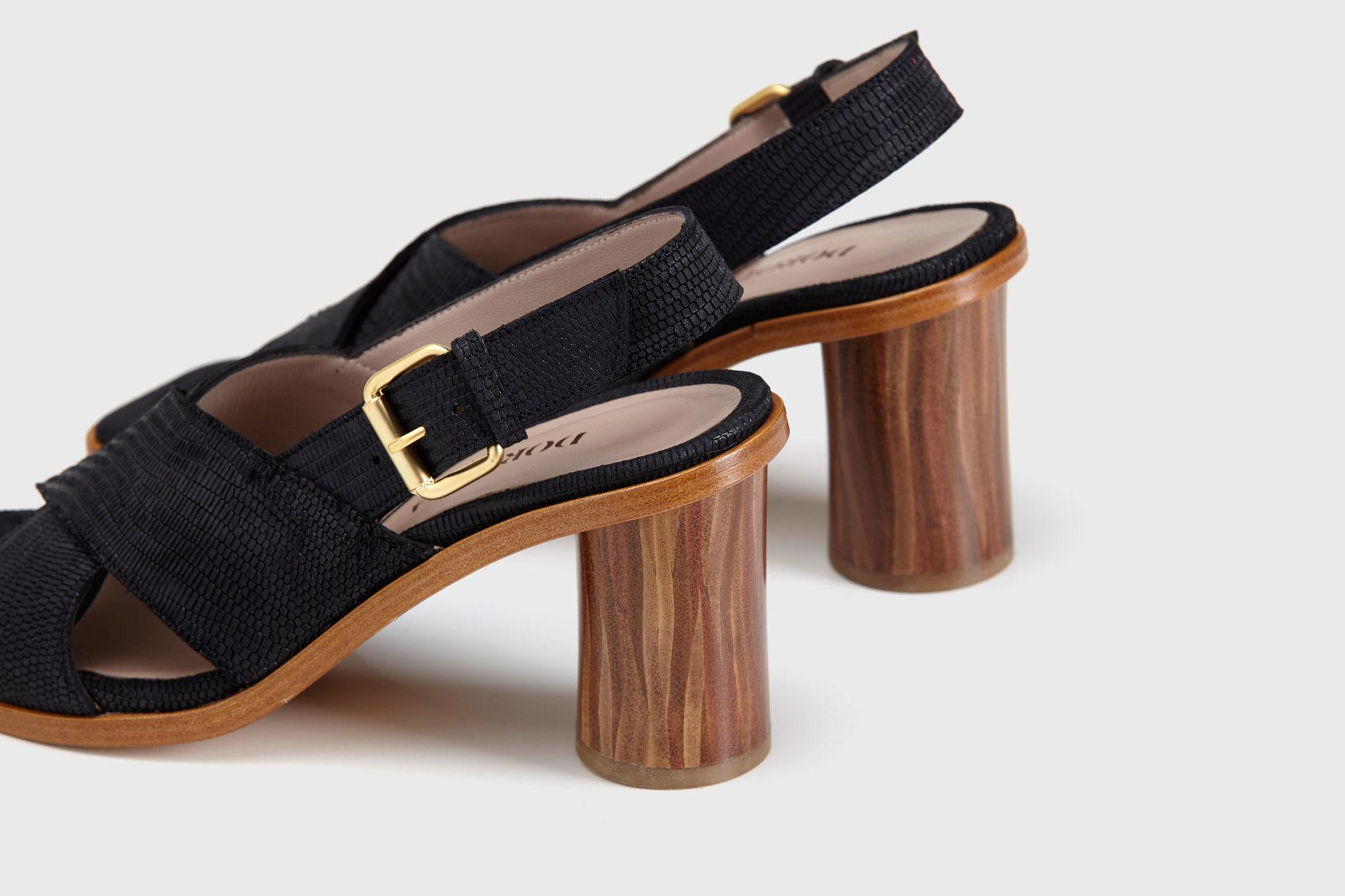 Dorotea sandalia de tacón alto jazz negra ss17 detalle