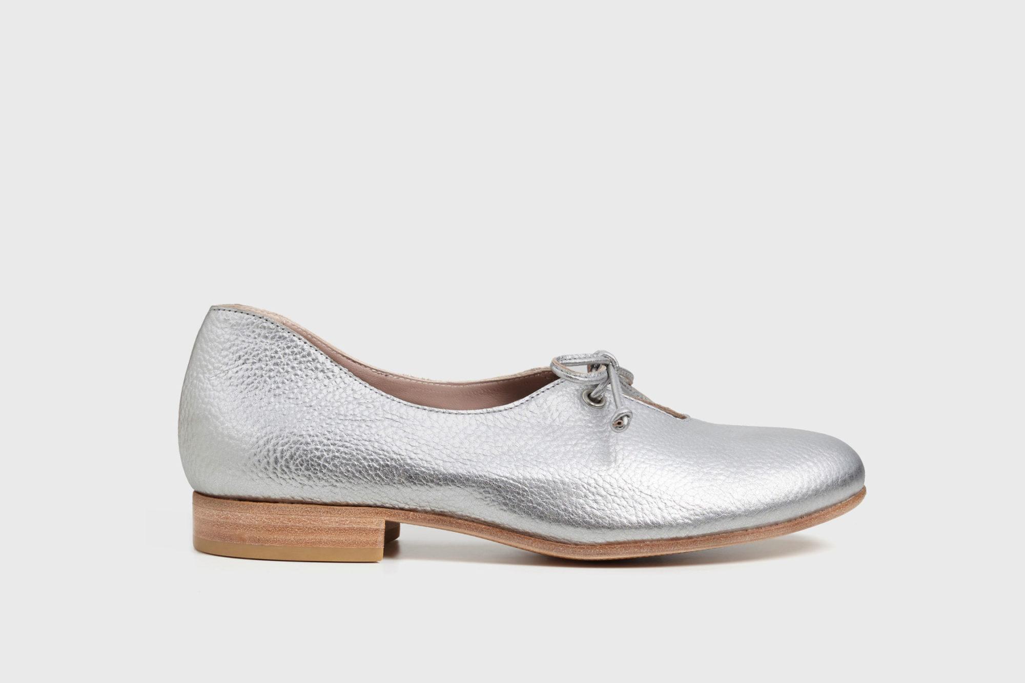 Dorotea zapato de cordones Carrie plateado ss17 perfil
