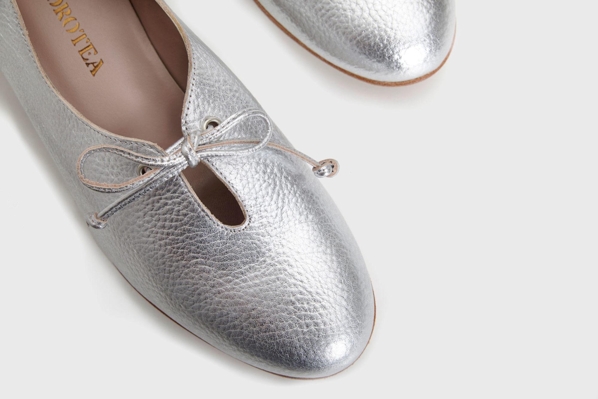 Dorotea zapato de cordones Carrie plateado ss17 detalle