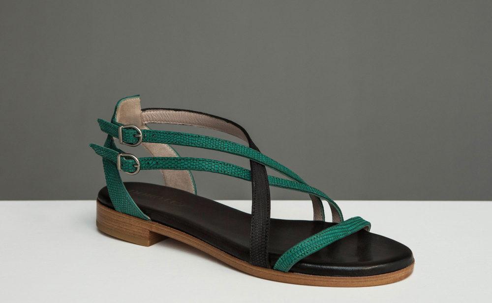 Dorotea sandalia plana Charlotte verde esmeralda ss17