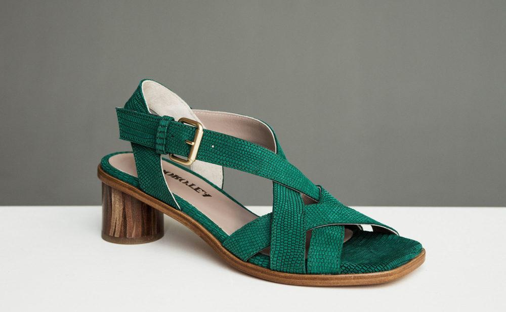 Dorotea sandalia de tacón medio Jeanne verde ss17