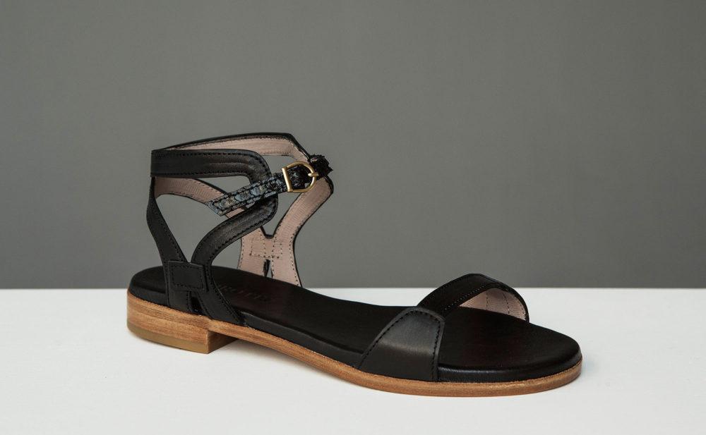 Dorotea sandalia plana Maya negra ss17