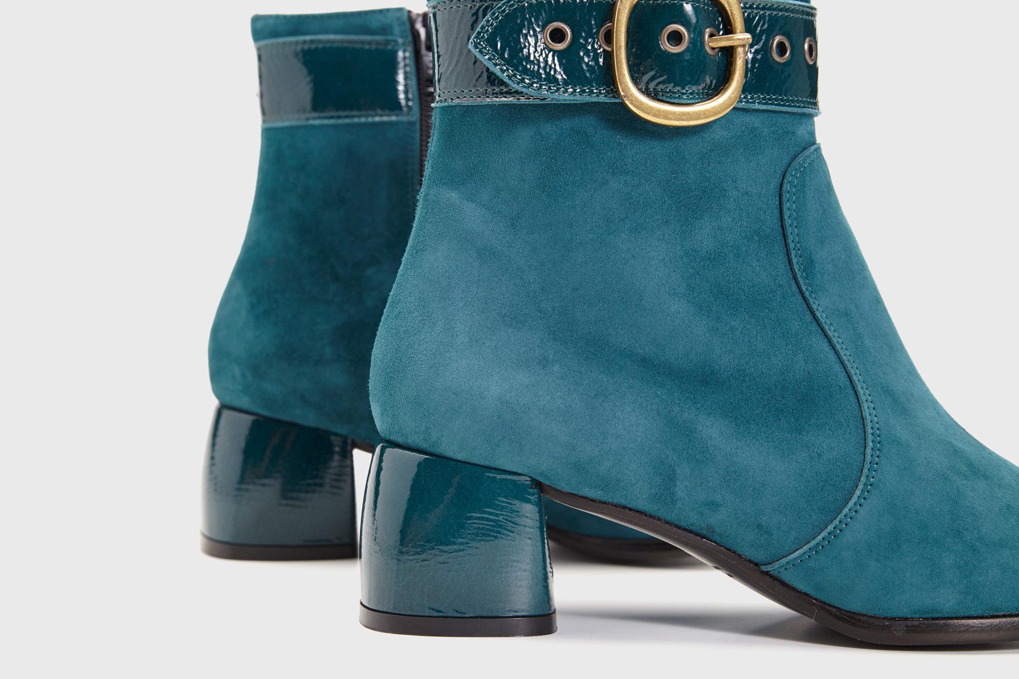 Dorotea botín de tacón medio Vivian color turquesa fw17 detalle