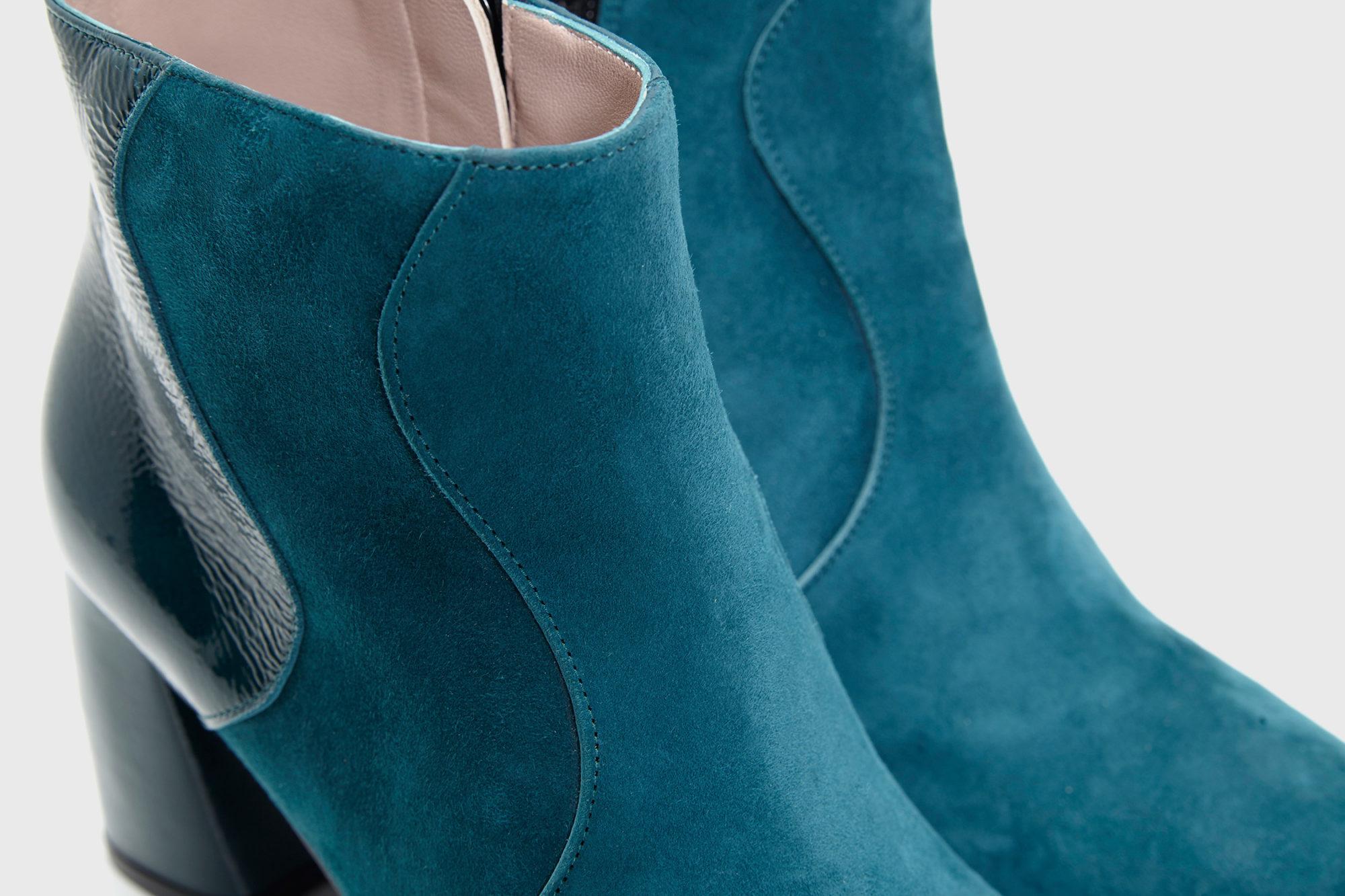 Dorotea botín de tacón alto Ruby azul lago fw17 detalle