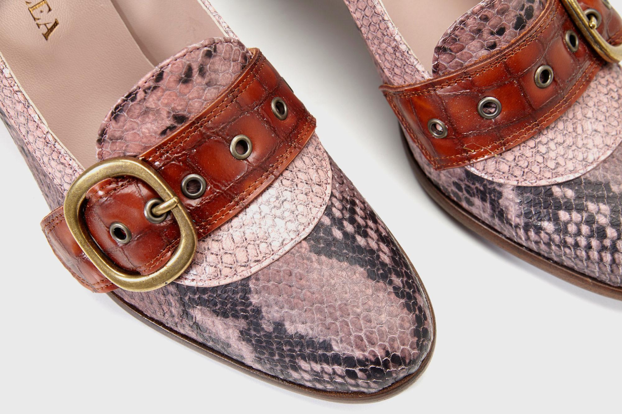 Dorotea zapato salon Juliette fw17 pitone rosa detalle