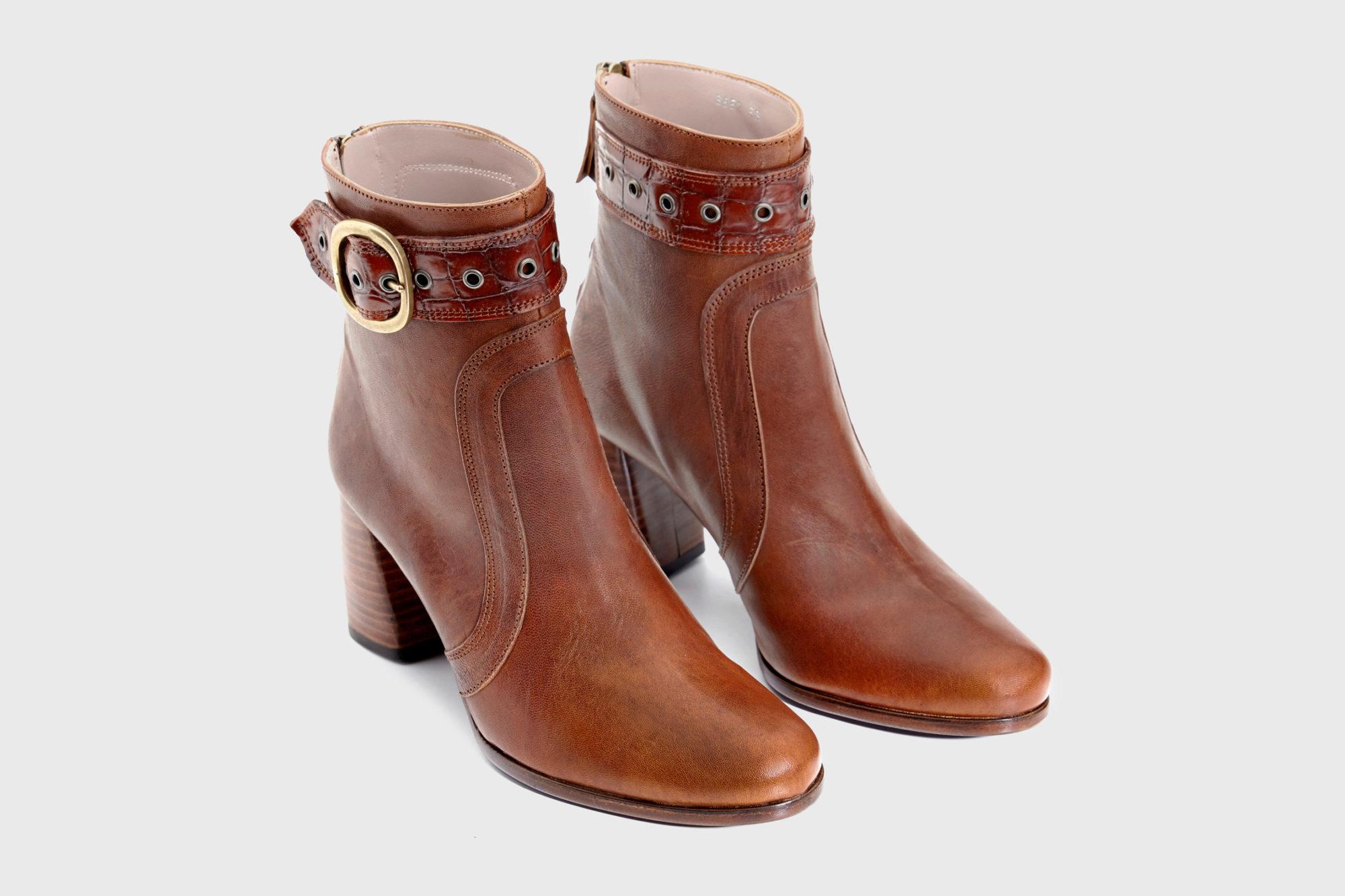 Dorotea botín de tacón alto Norah color cuero fw18 par