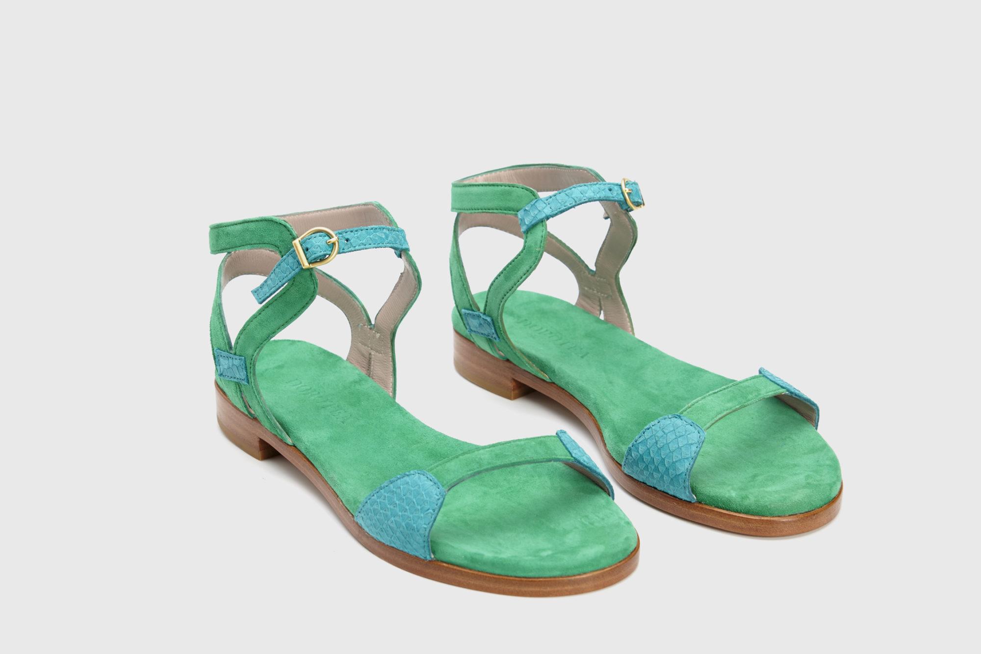 Dorotea sandalia plana Maya turquesa verde ss18 par