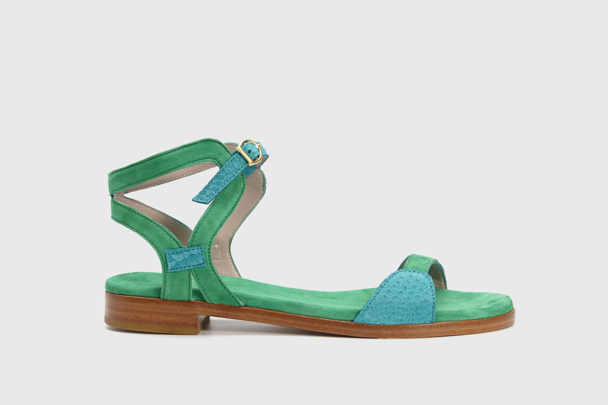 Dorotea sandalia plana Maya turquesa verde ss18 perfil